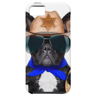 cowboy pug - hondcowboy tough iPhone 5 hoesje