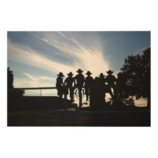Cowboys en de veedrijfsters van het silhouet de hout afdruk