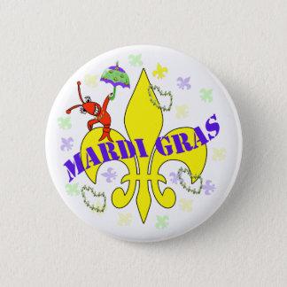 Crawfish Fleur DE Lys Mardi Gras Ronde Button 5,7 Cm