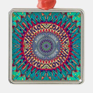 Creatieve Concentrische Samenvatting Zilverkleurig Vierkant Ornament