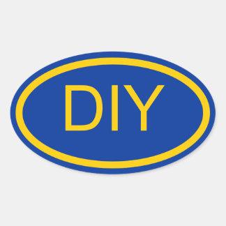 Creëer een Blauwe en Gouden Euro Ovale Sticker van