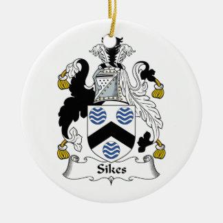 CREST van de Familie van Sikes Rond Keramisch Ornament