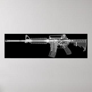CT/X-straal poster van echt geweer AR-15! Hoog