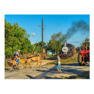 Cuba: Bezige spoorweg kruising Briefkaart