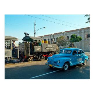 Cubaanse stoom en auto briefkaart