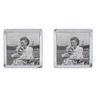 Cufflinks van de Foto van de moeder en van het Verzilverde Manchetknopen