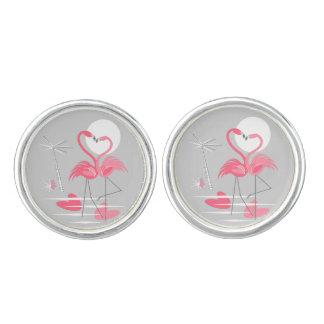 Cufflinks van de Liefde van de flamingo ronde Manchetknopen