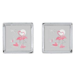 Cufflinks van de Liefde van de flamingo vierkant Verzilverde Manchetknopen