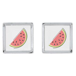 Cufflinks van de Plak van de watermeloen Verzilverde Manchetknopen