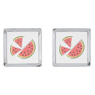 Cufflinks van de Stukken van de watermeloen Verzilverde Manchetknopen