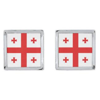 Cufflinks van de Vlag van Georgië Verzilverde Manchetknopen