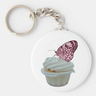 Cupcake en roze vlinder sleutel hanger