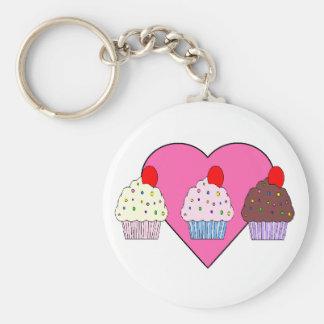 cupcake harten basic ronde button sleutelhanger