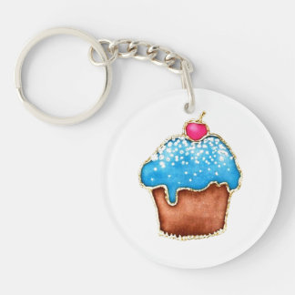 cupcake keychain 1-Zijde rond acryl sleutelhanger