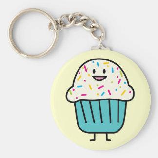 Cupcake met bestrooit Zeer belangrijke Ketting Basic Ronde Button Sleutelhanger