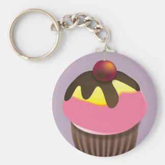 Cupcake met Kers op Hoogste Keychain Sleutel Hanger