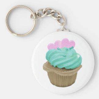 Cupcake met roze harten sleutel hanger