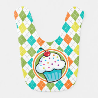 Cupcake op Kleurrijk Patroon Argyle Baby Slab