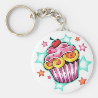 Cupcake Star Basic Ronde Button Sleutelhanger