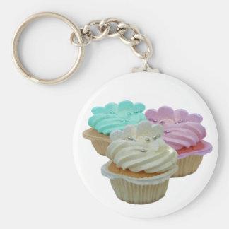 Cupcakes en Harten Basic Ronde Button Sleutelhanger