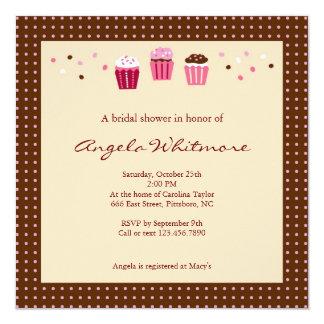 Cupcakes in Roze, Bruin en Room Kaart