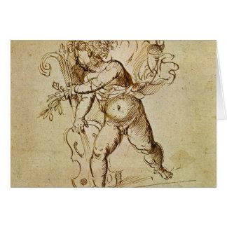 Cupido met een Viool door Campagnola, Renaissance Kaart