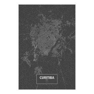 Curitiba, wit Brazilië (op zwarte) Poster
