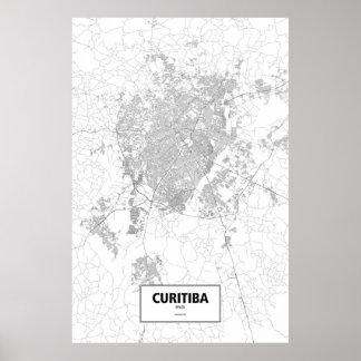 Curitiba, zwart Brazilië (op wit) Poster