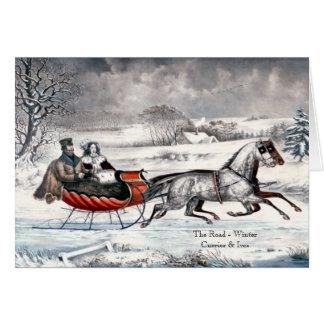 Currier & Ives - Wenskaart - de Weg, de Winter