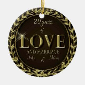 CustomizeYears van Bruine Liefde Rond Keramisch Ornament