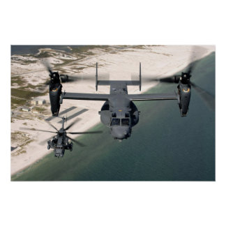 Cv-22 de visarend en MH-53 bedekken Laag Poster