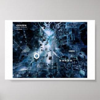 cyberfunk-chaotische afmetingen urbaneffect poster