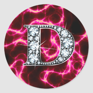 "D ""Diamant Bling "" Ronde Sticker"