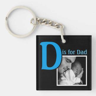 D is voor Papa 2-Zijden Vierkante Acryl Sleutelhanger