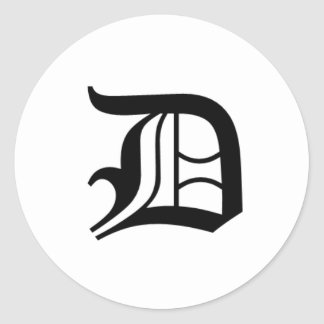 D-tekst het Oude Engels Ronde Sticker