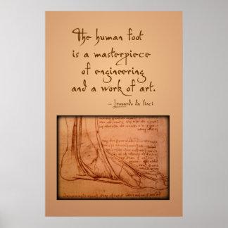 """da Vinci: De """"menselijke voet is… """" Poster"""
