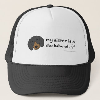 DachshundBlackTanSister Trucker Pet