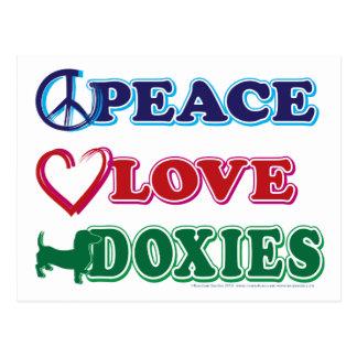 Dachsund vrede-liefde-Doxies Briefkaart