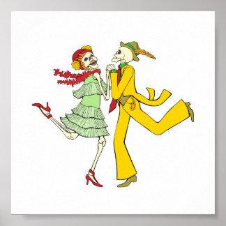 Dag van het Dode Dansende Paar van Skeletten Poster