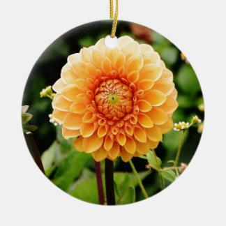 dahlia rond keramisch ornament