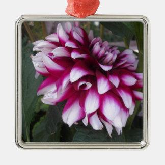 Dahlia Zilverkleurig Vierkant Ornament