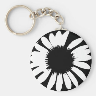 Daisy Crazy - Zwarte & Margriet Basic Ronde Button Sleutelhanger