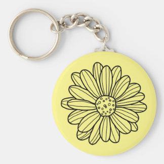 Daisy Flower Basic Ronde Button Sleutelhanger