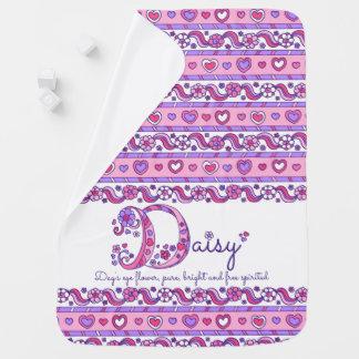 Daisy personaliseert naam die babydeken bedoelen kinderwagen dekentjes