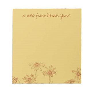 Daisy Wildflower Sepia Ink Drawing personaliseerde Notitieblok
