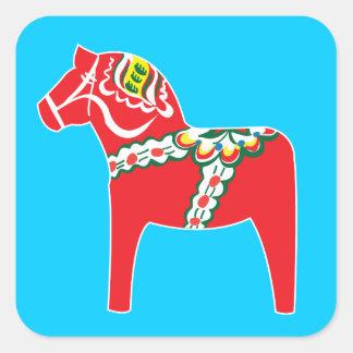 Dalahäst | paard Dala Vierkant Stickers