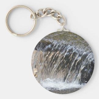 Dalend Water, koele blauwe grijze en witte stroom Sleutelhanger