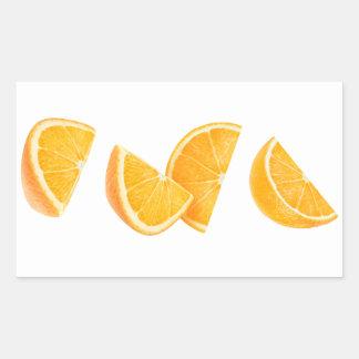 Dalende oranje stukken rechthoekige sticker