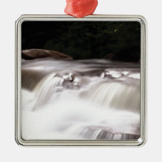 dalende waterstroom zilverkleurig vierkant ornament