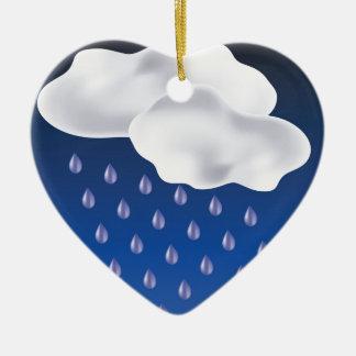 Dalingen van Regen Keramisch Hart Ornament